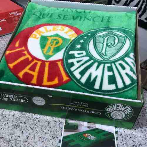 3e2cd8f216 Cobertor Jolitex Solteiro Raschel Toque Macio Time Palmeiras R  118