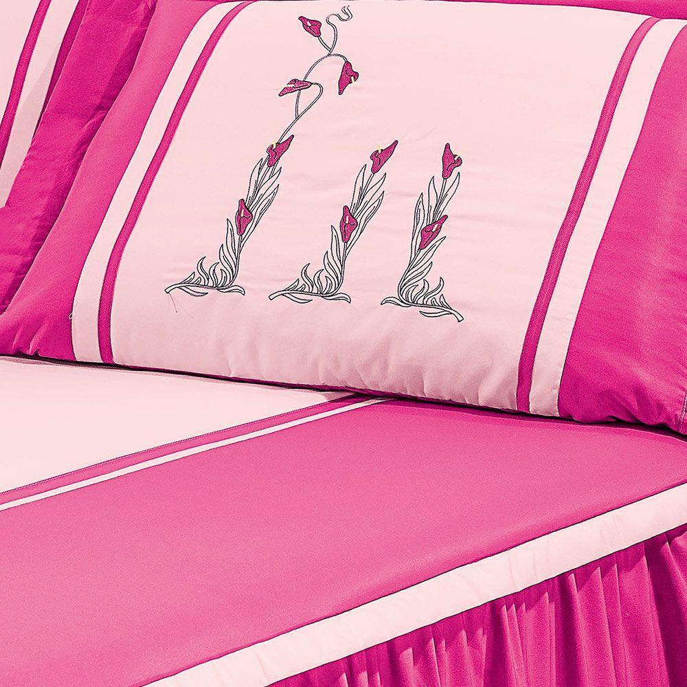 b40339ab76 Colcha Casal Camille Rosa Pink Listrado com 5 peças - Valle enxovais R   250