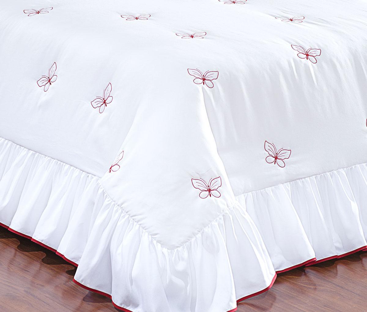 65fd211b1d Colcha Casal Queen Coleção Borboletas Bordado Kit com 05 Peças - Branco    Vermelho - Borda bordados enxovais R  134