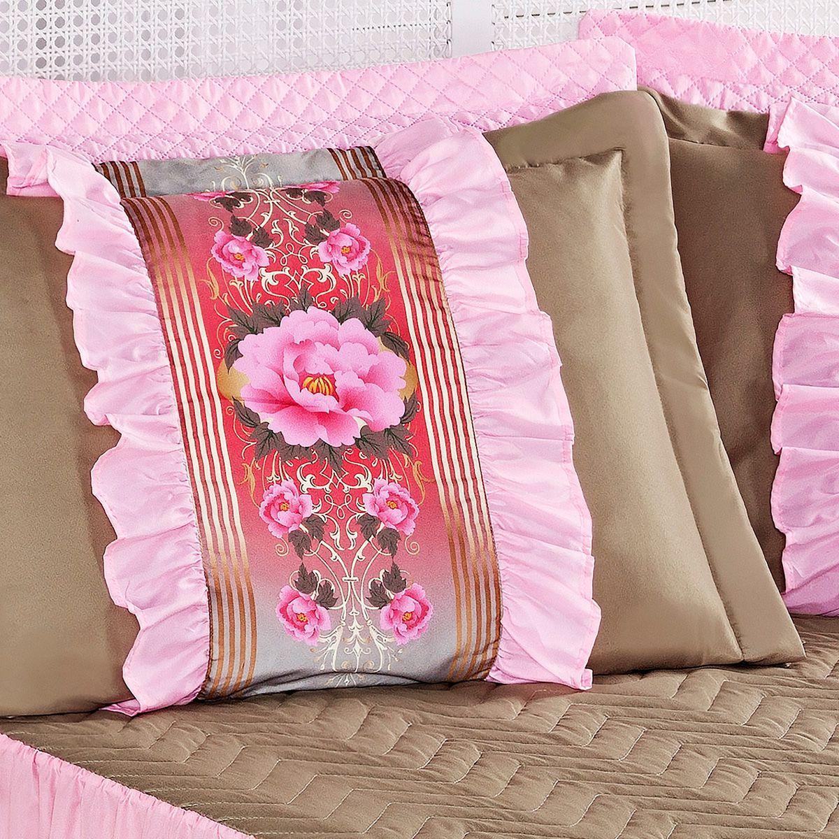 acc3f869c5 Colcha Rosa Casal Padrão Bia Cáqui   Rosa com Refil 5 Peças - Aquarela  enxovais R  129