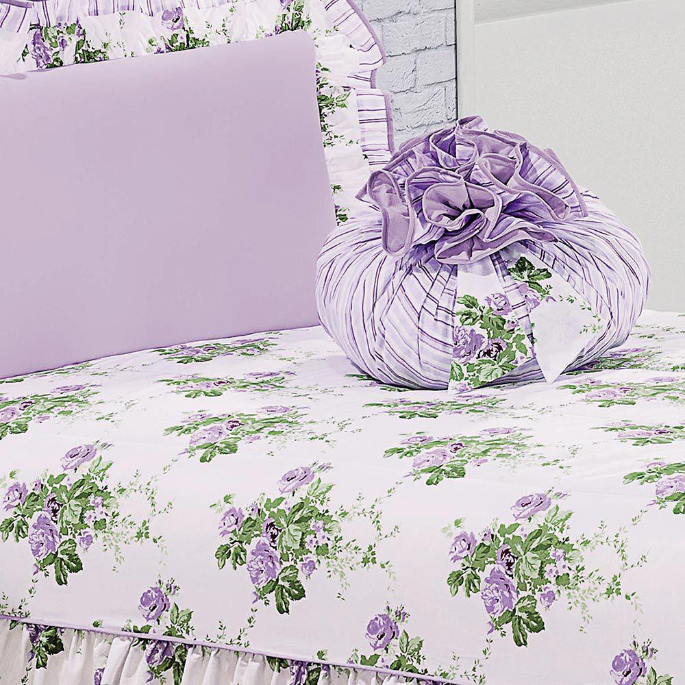 5a7e77b08a Colcha Solteiro Amarilis Lilas Floral com 4 peças - Valle enxovais - Colchas  - Magazine Luiza