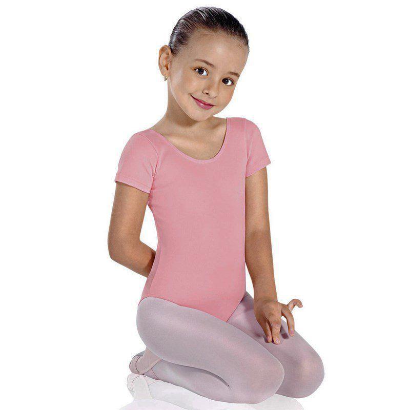 faaf0ac705 Collant infantil manga curta rosa só dança R$ 39,90 à vista. Adicionar à  sacola