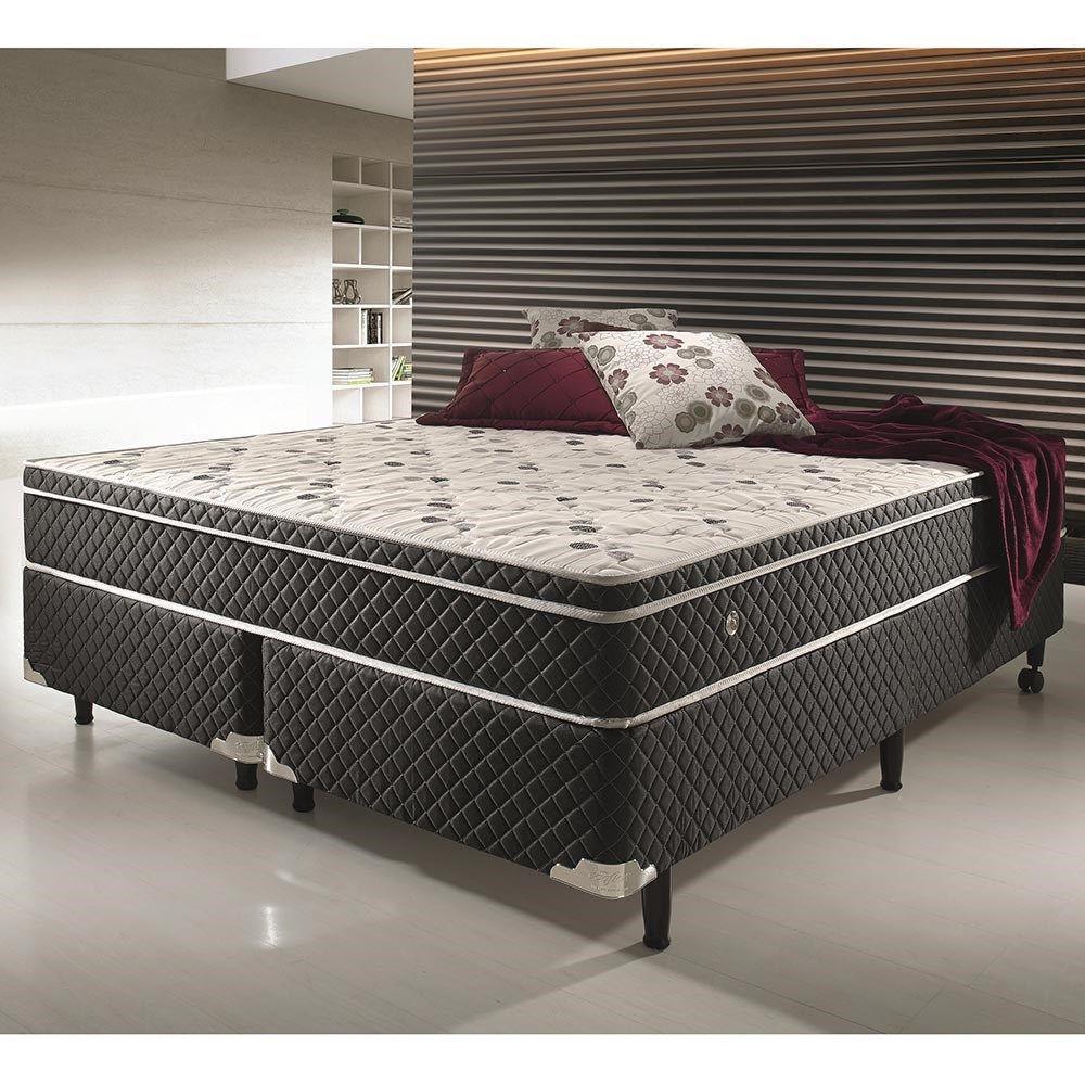 Conjunto cama box casal king size soft confort anti caro for Cama grand king