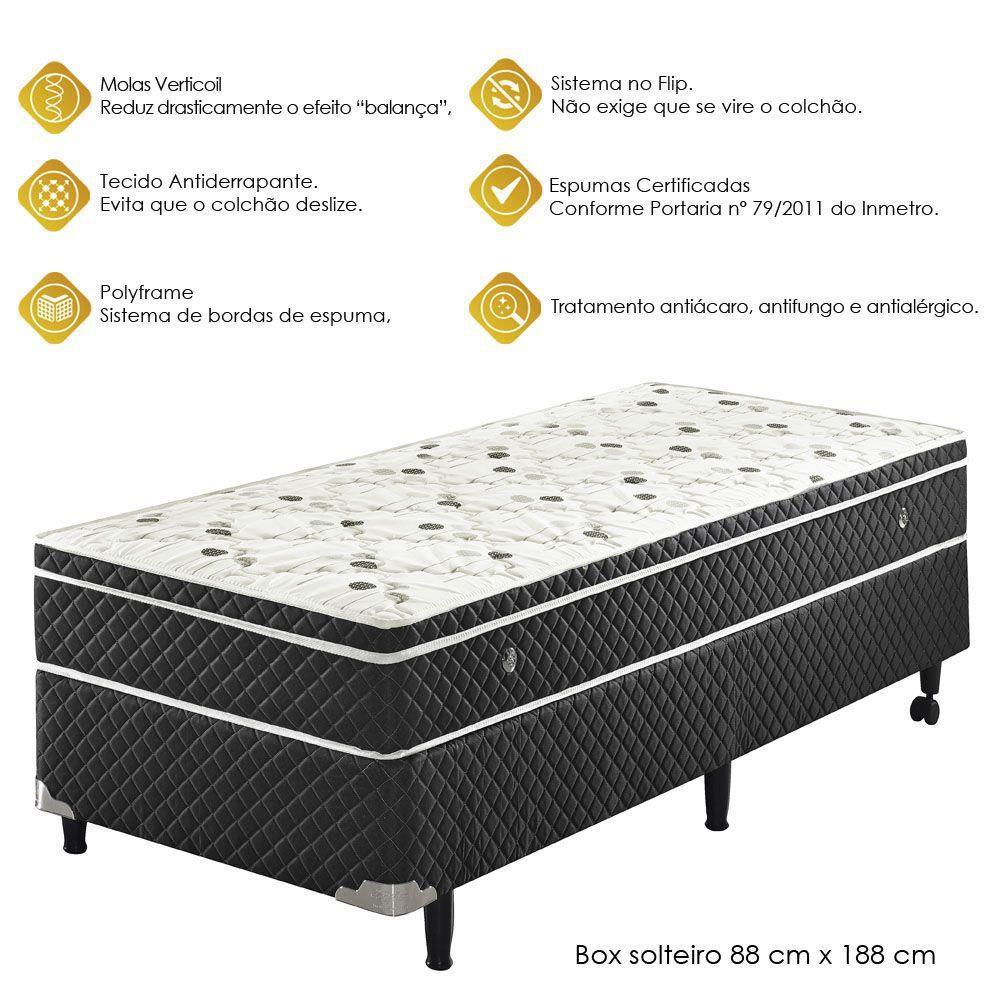 Conjunto Cama Box Solteiro Soft Comfort Preto Sistema Antiácaro ...