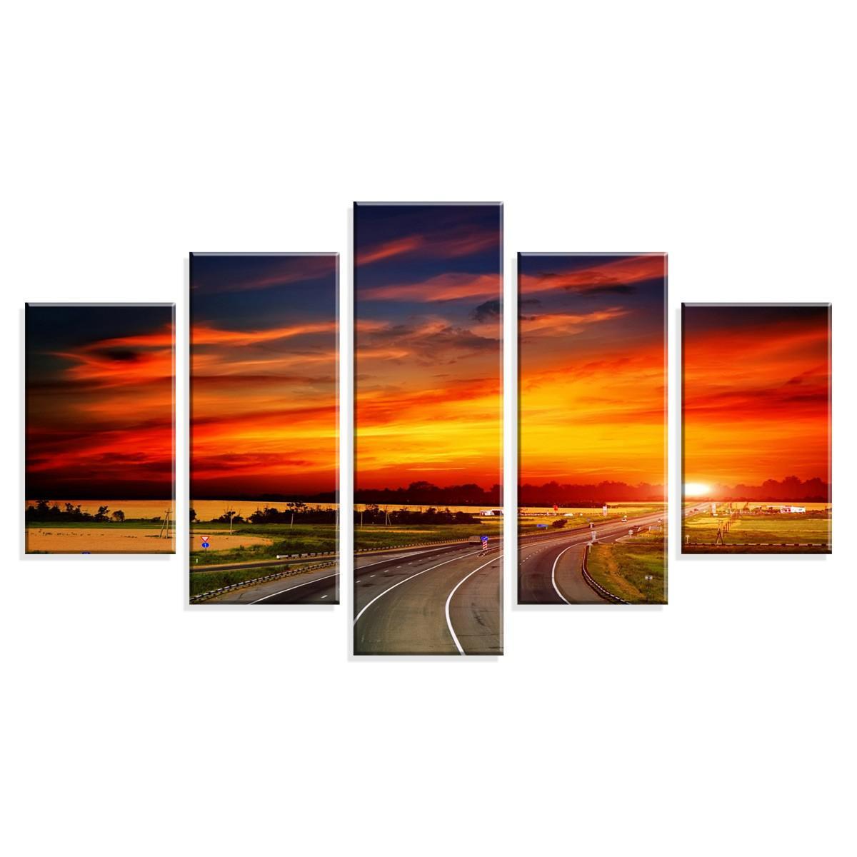06bcfb01d Conjunto de 5 Telas Decorativas em Canvas Viagem ao Por do Sol - Love decor  R  241