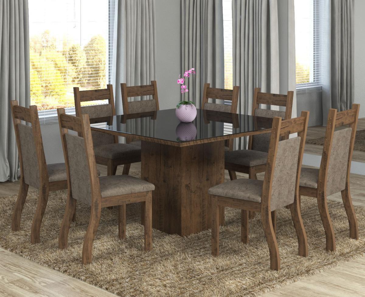 286135064c Conjunto De Mesa Para Sala De Jantar Elen Com Vidro Preto 8 Cadeiras Ebano  Dakota - At house R  1.249