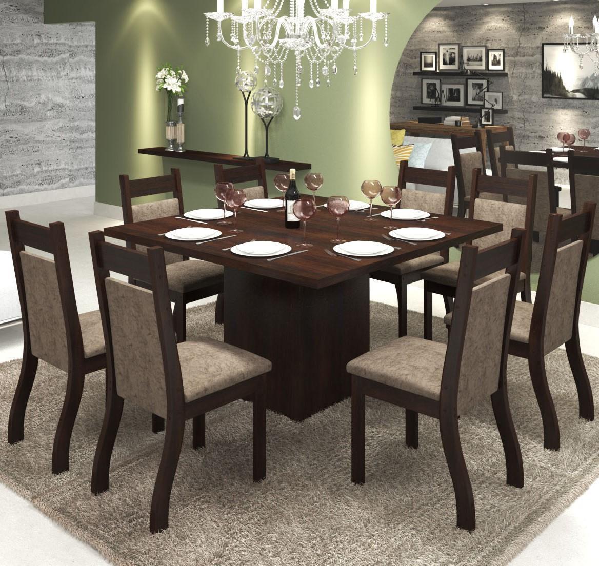 Conjunto de mesa para sala de jantar olinda com 8 cadeiras for Sala 2 conjunto de artes escenicas