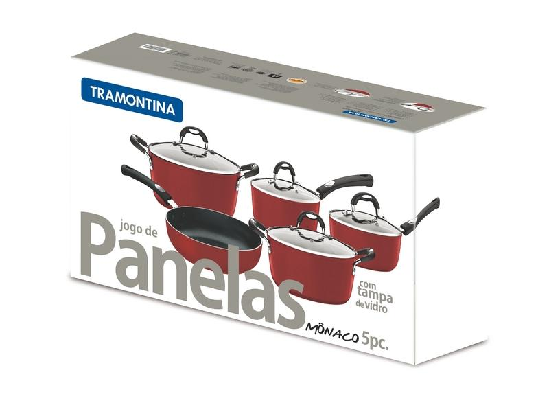 Conjunto de Panelas Alumínio 5 Peças Mônaco Vermelha Tramontina 20899/750 -  Panelas - Magazine Luiza