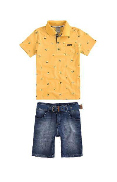 Conjunto Infantil Masculino - Camisa Polo e Bermuda Jeans - Carinhoso R  104 cacea6e14a6ee