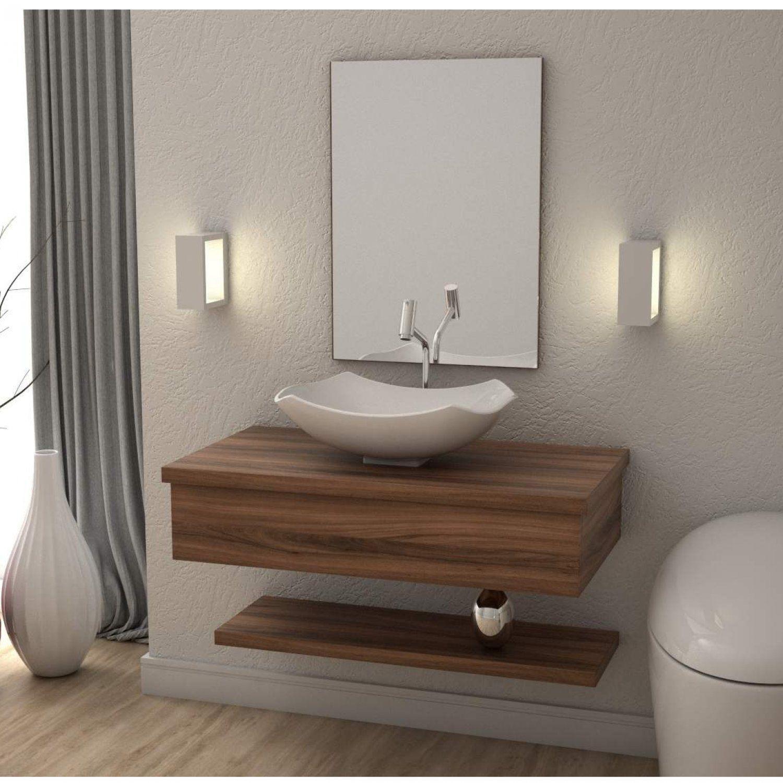 Conjunto Para Banheiro Gabinete 80cm Cuba Abaulada L42 Prateleira E Espelheira 806w Metropole Compace Nogal Balcao Para Banheiro Gabinete Para Banheiro Magazine Luiza