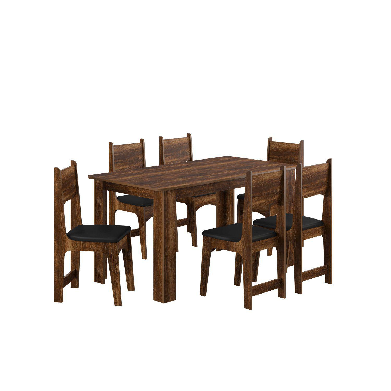 f5a5f3df2 Conjunto Sala de Jantar Mesa 6 Cadeiras Nicoli Siena Móveis Rústico Preto  R  409