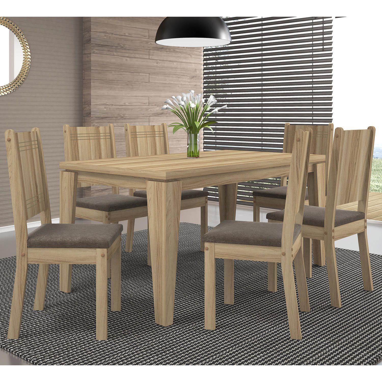 1542b1f69b Conjunto Sala de Jantar Mesa Bela 6 Cadeiras New Romana DJ Móveis Teka Pena  Marrom Produto não disponível
