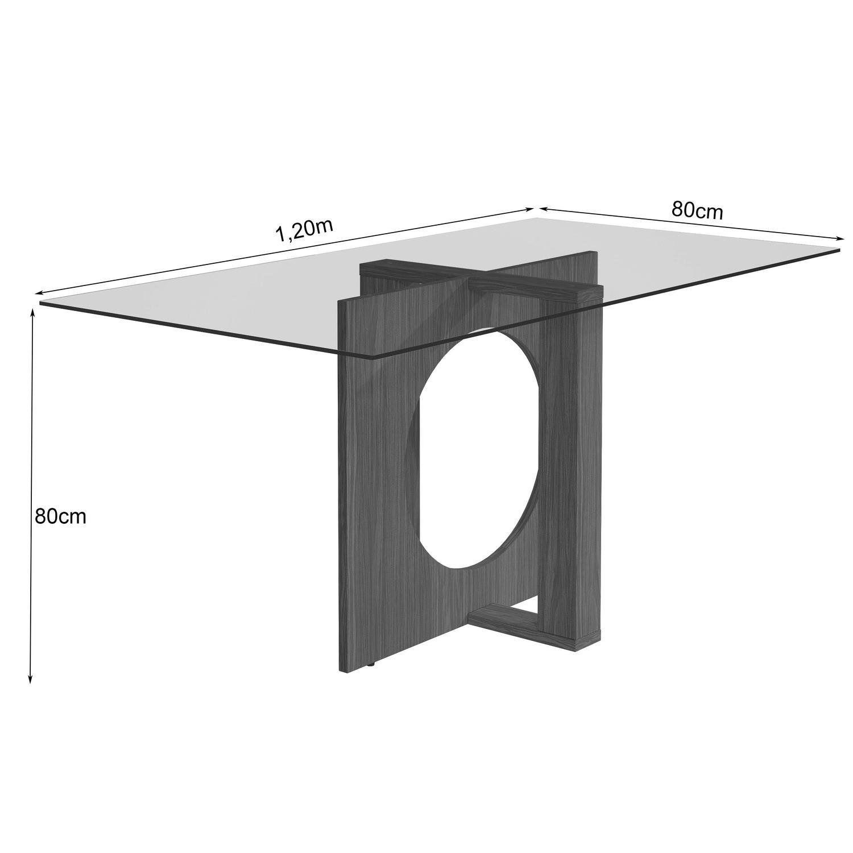 7ee11f23b1 Conjunto Sala de Jantar Mesa com Tampo de Vidro e 4 Cadeiras Atuale LJ  Móveis Castanho Bege Produto não disponível