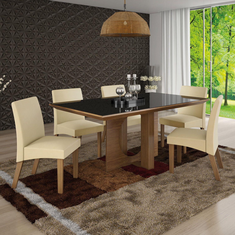 ded67e22f5 Conjunto Sala de Jantar Mesa Frisa 6 Cadeiras Atuale LJ Móveis Castanho  Animale Bege Produto não disponível