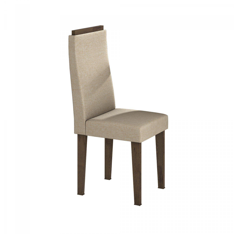 272058701 Conjunto Sala de Jantar Mesa Tampo em Vidro 6 Cadeiras Dafne Móveis Lopas  Imbuia Rinzai Bege R  999