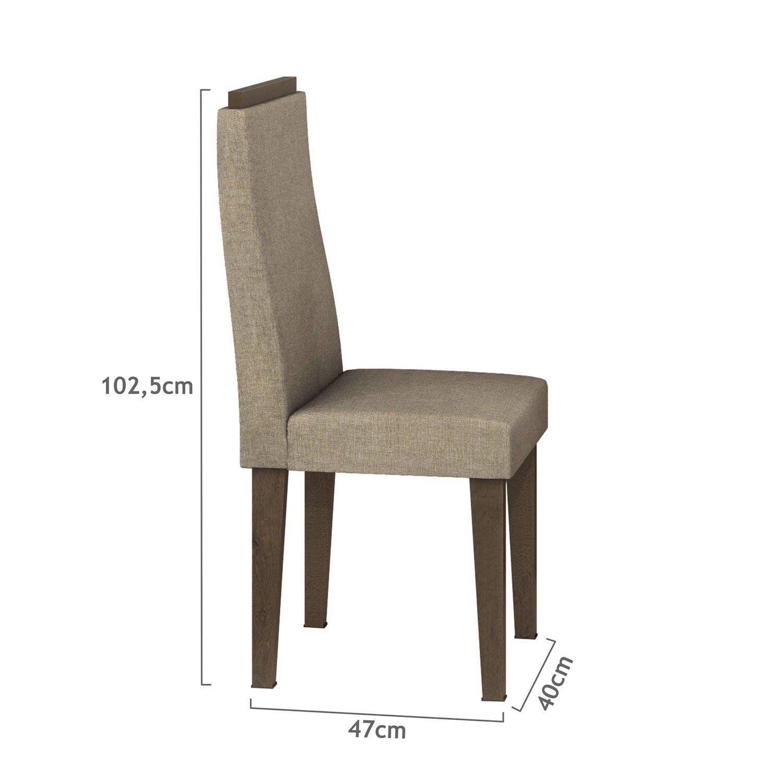 dca7fb222 Conjunto Sala de Jantar Mesa Tampo Vidro Fiorella 6 Cadeiras Dafne Móveis  Lopas Imbuia Rinzai Bege Produto não disponível