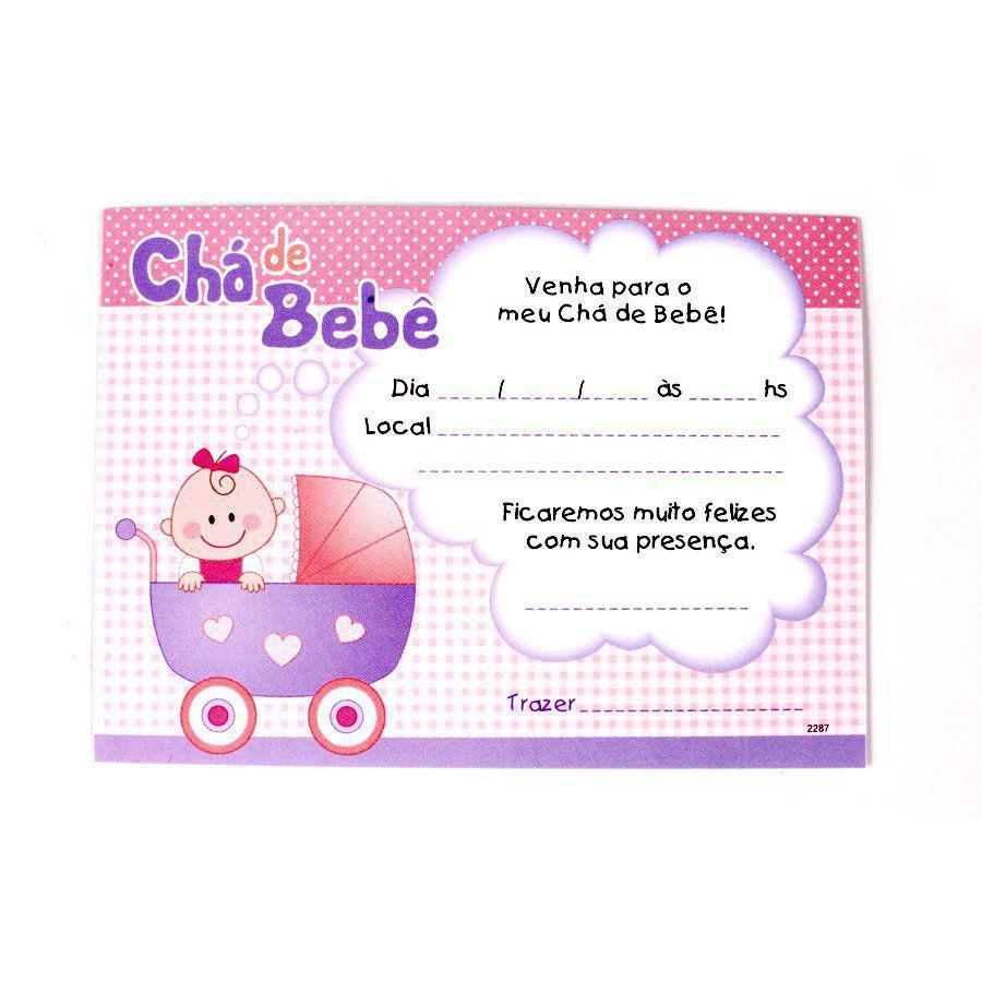 Convite Chá De Bebê Menina Com Envelope 8un Aluá Festas Convites