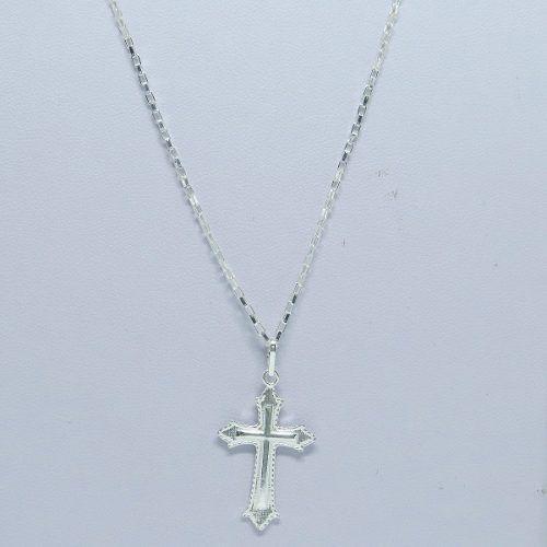 ba4befeace Cordão Corrente Masculina Prata 70cm Pingente Crucifixo Prata 925 Cadeado -  Dr joias R  98