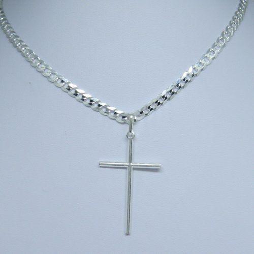 20fb241367 Corrente 70cm Masculina Grumet Pingente Crucifixo Prata 925 - Dr joias R   173