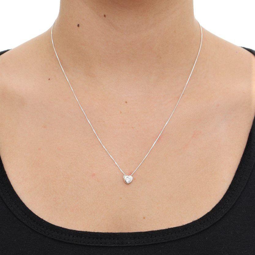 39efc2bd14989 Corrente Colar Feminino Ponto De Luz Coração Prata Pura 925 - Gabriela  costa semi jóias R  64