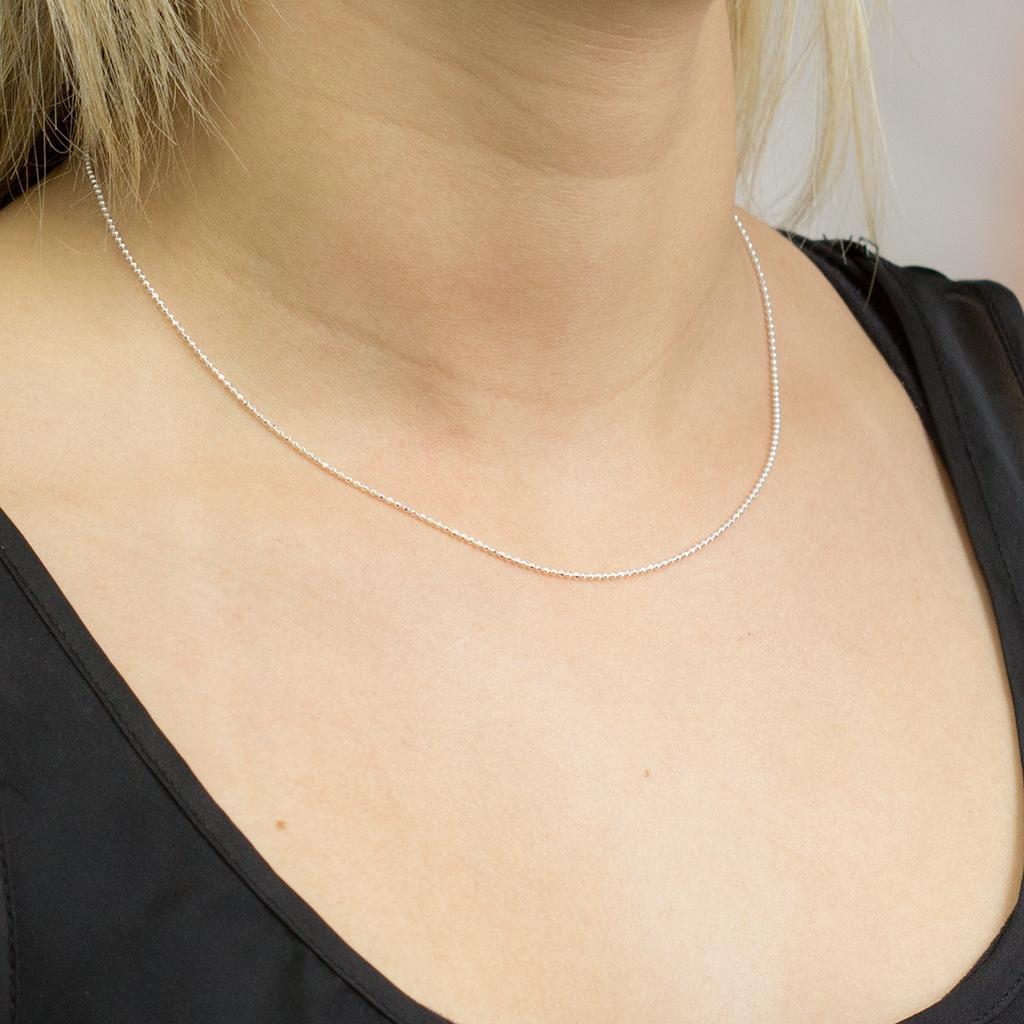 18a32f98a32c0 Corrente de Prata Feminina Bolinha Diamantada 40 cm - Prata fina R  35