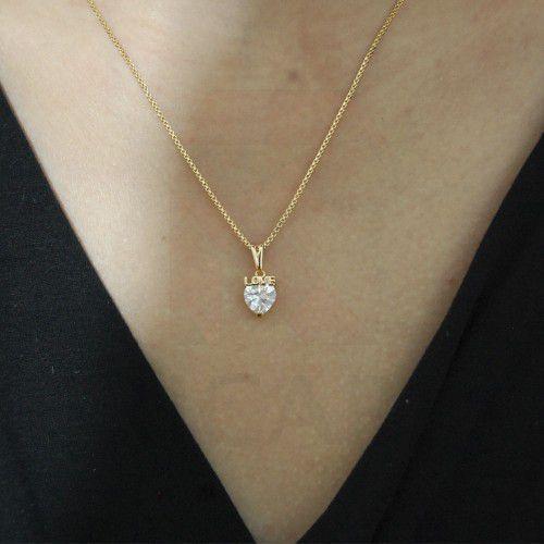 Corrente Feminina 45cm C Pingente Coração Love Zircônia Banhado Em Ouro 18k Ricari