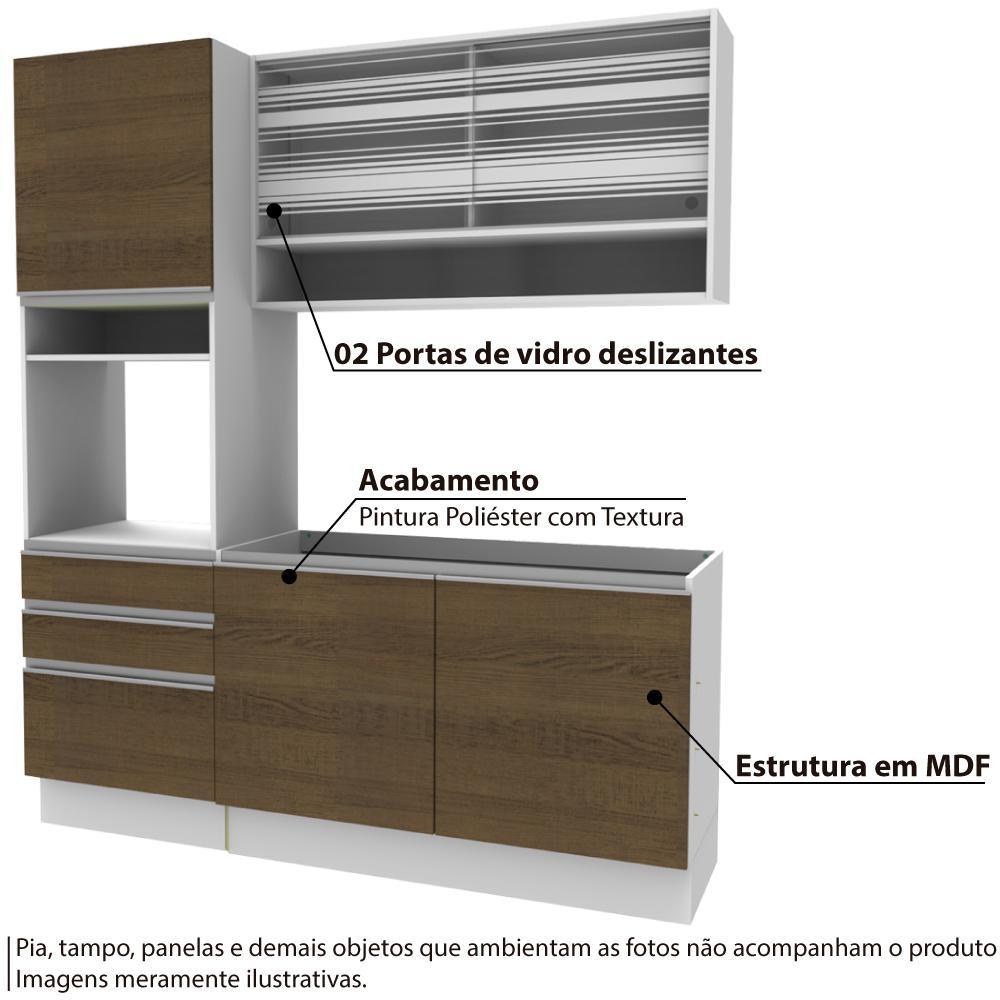 Cozinha Compacta Clara 2 Portas De Vidro E Balc O De Pia