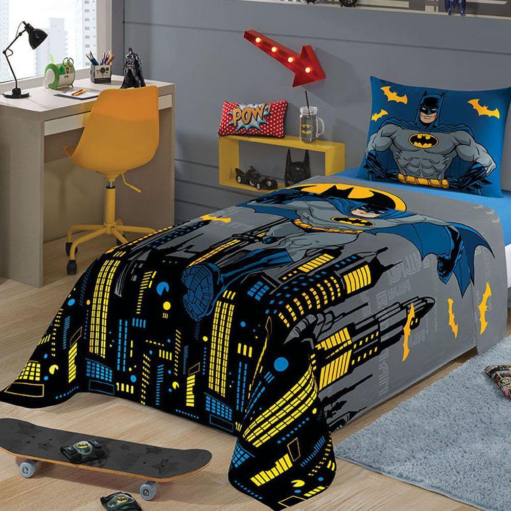 dbc4360d9c Edredom e Jogo de Cama Solteiro 3 Pçs Batman Super Herói - Lepper R  254