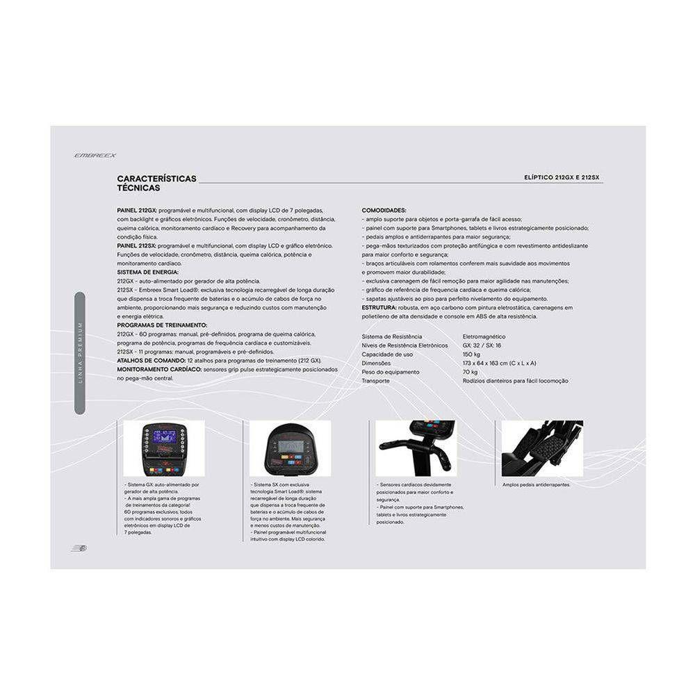 3634b5e13 Eliptico 212sx Profissional Premium Movimento De Braço C/ 11 Programas-  Embreex R$ 5.899,00 à vista. Adicionar à sacola