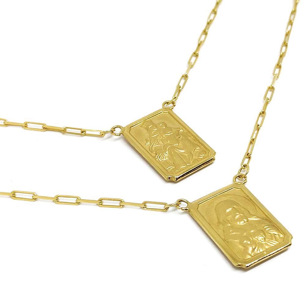 fc933a710e0ee Escapulário Dupla Face Em Ouro 18k Medalha Grande - Glamour - Colar ...