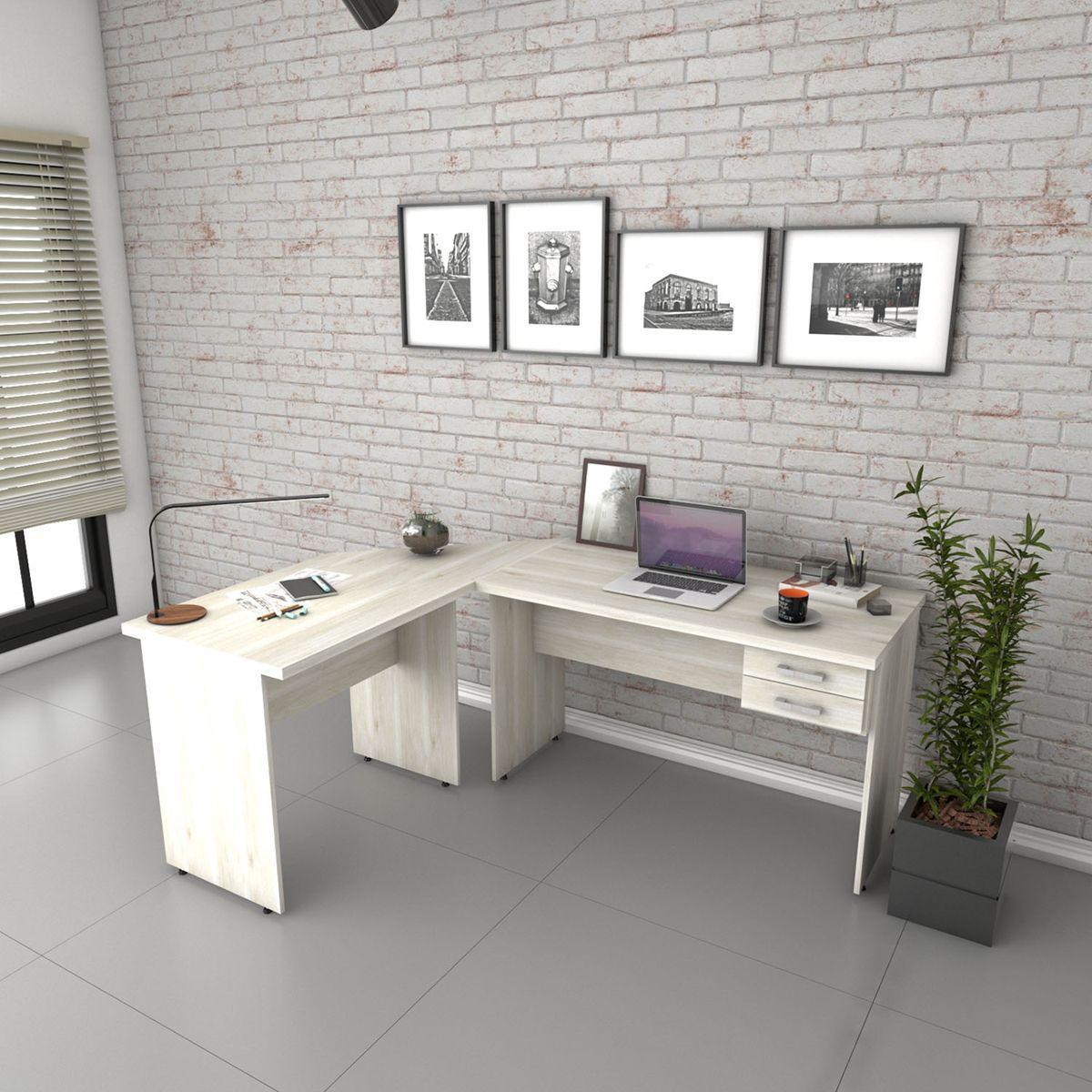 Escrivaninha Mesa De Escritorio Em L Trevalla 1 80x1 40m C 2 Gavetas Snow Escrivaninha Mesa Para Computador Magazine Luiza
