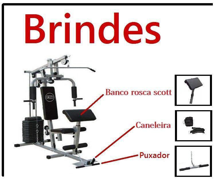 248add425d Estação De Musculação Com 80kg Aparelho Ginástica Academia - Wct fitness R   1.699