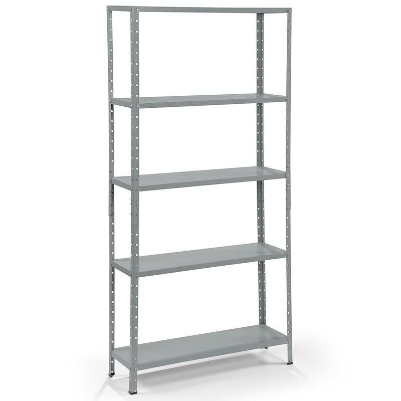 estante de a o cinza 198x93x30cm bariloche 5 bandeja fabone livreiro estante para livros. Black Bedroom Furniture Sets. Home Design Ideas