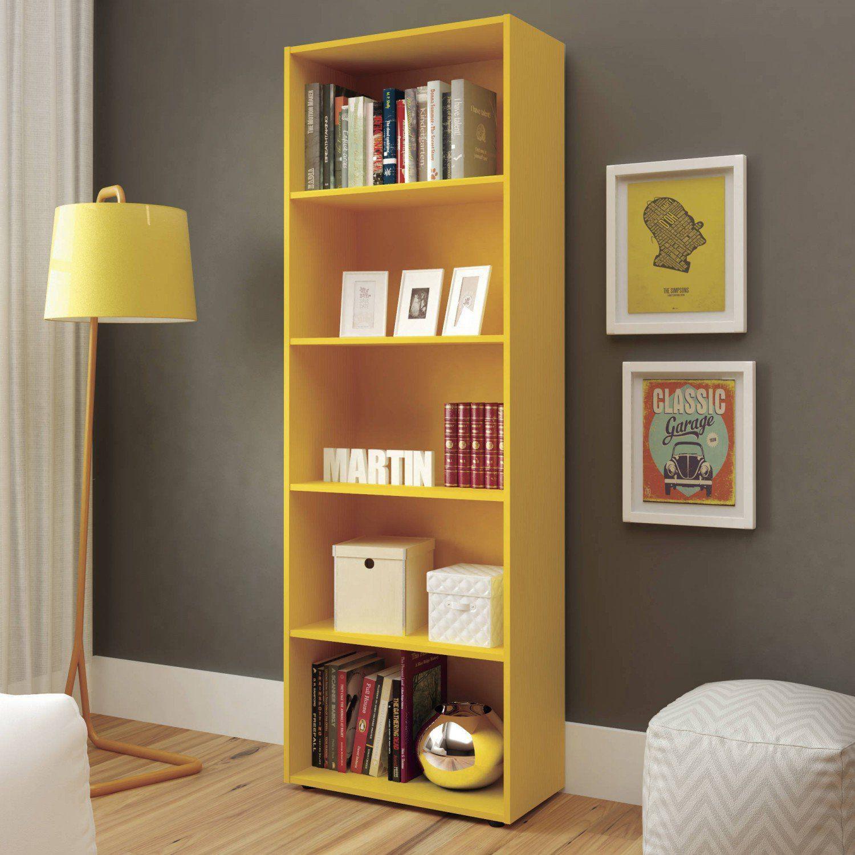 Estante Para Livros 5 Prateleiras Multy Artely Amarelo Livreiro Estante Para Livros Magazine Luiza