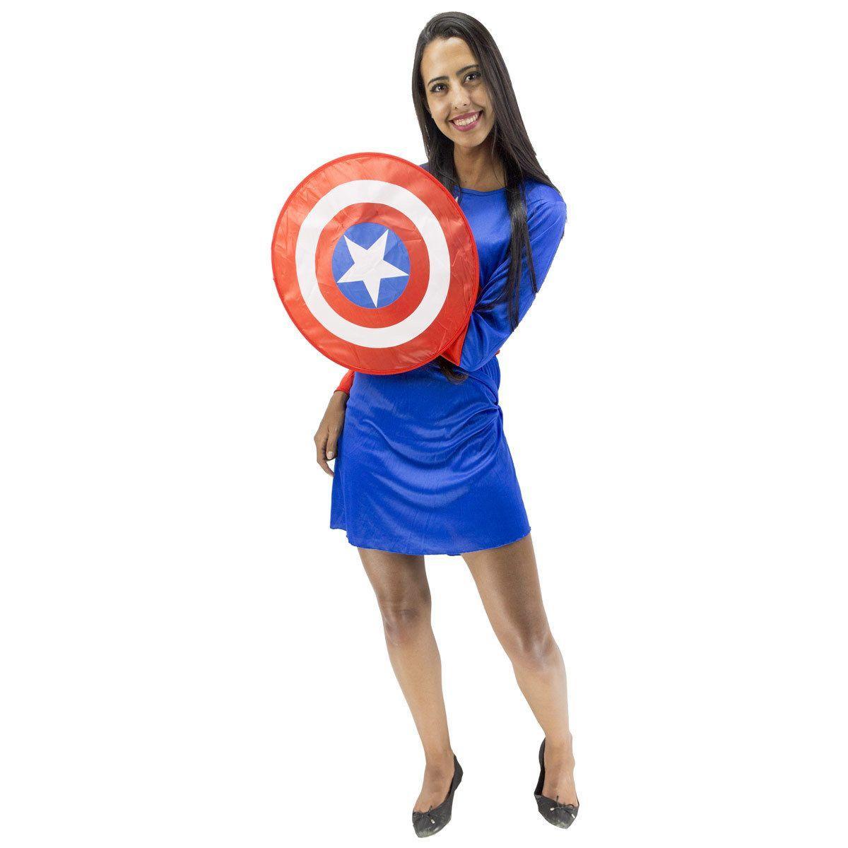 f101d5cb9a Fantasia Capitão America Feminino Capitã Com Escudo e Máscara - Fantasias  carol ch R$ 140,05 à vista. Adicionar à sacola