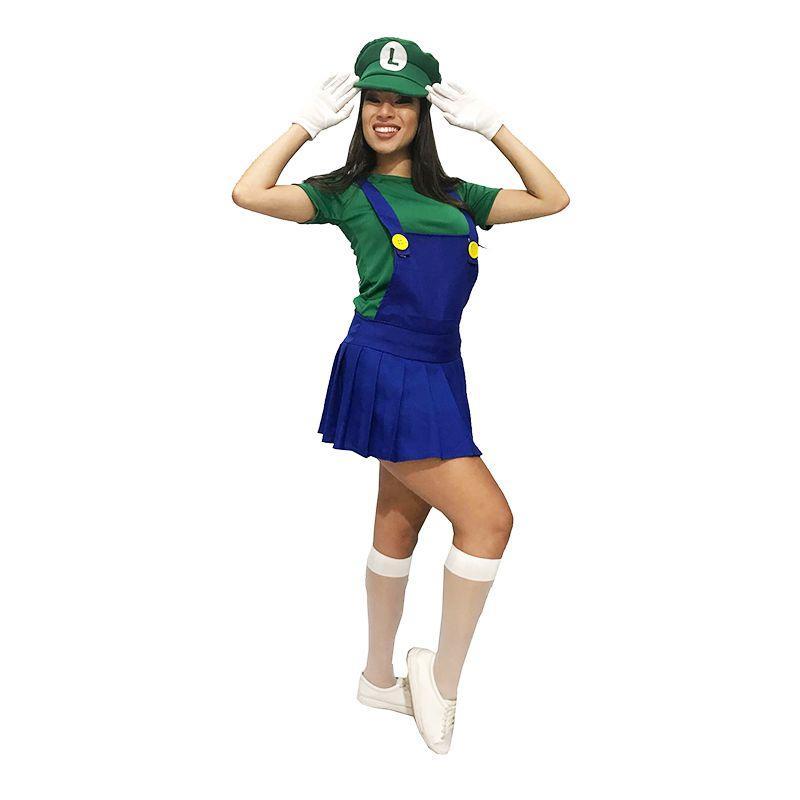 Fantasia Luigi do Super Mario Feminina Cosplay - Jade fashion R  179 66fa4f82dd6