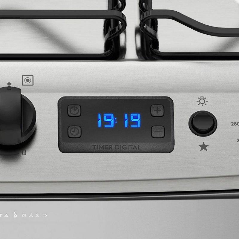 909de38b0 Fogão de Piso Electrolux 76XDR Porta Full Glass Duplo Forno 5 queimadores  c  Timer Prata Produto não disponível