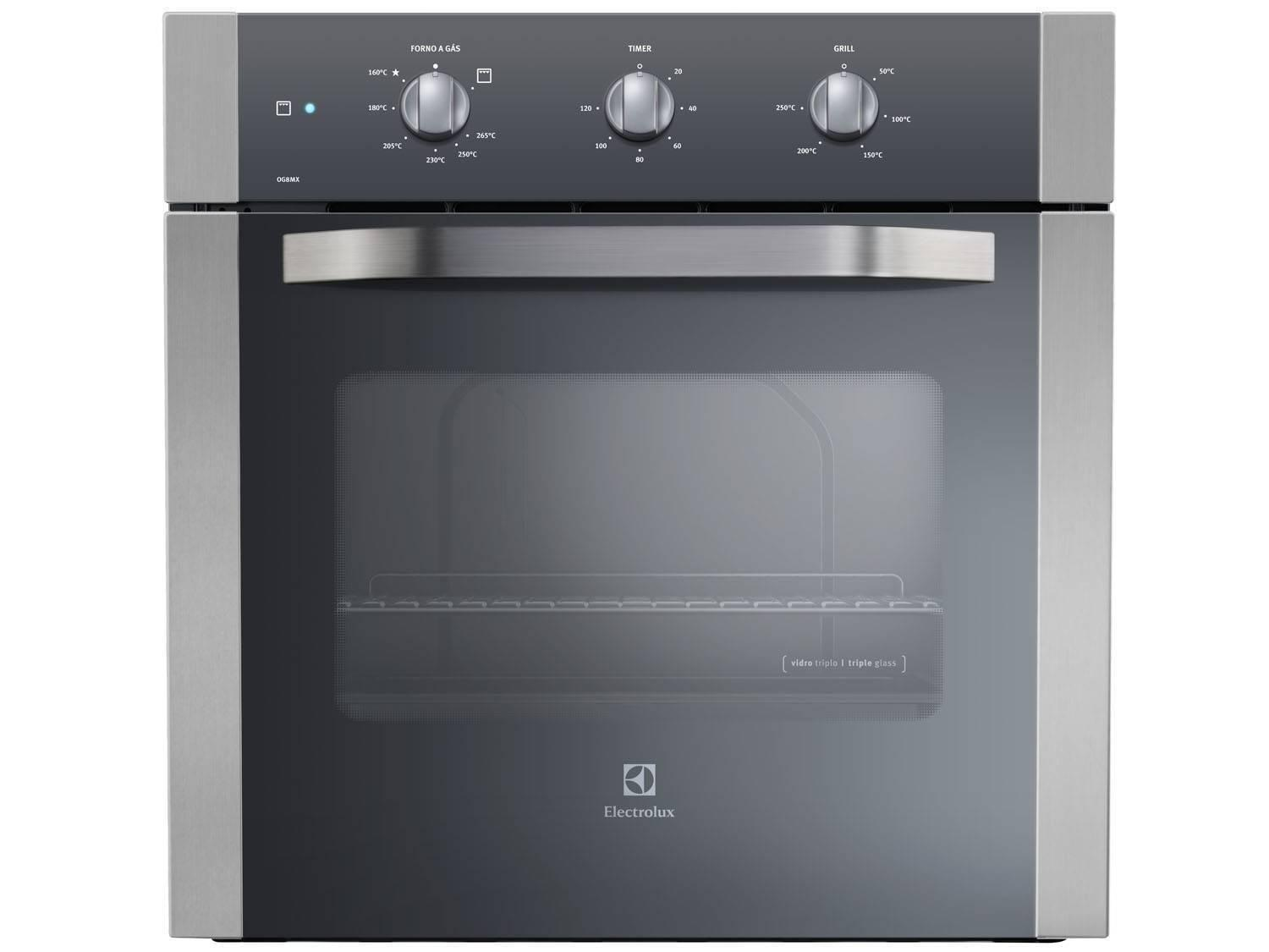 Forno de embutir a g s electrolux og8mx inox 73l grill for Forno a gas