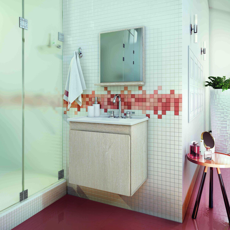 Gabinete Armário P Banheiro C Pia E Espelheira Modelo