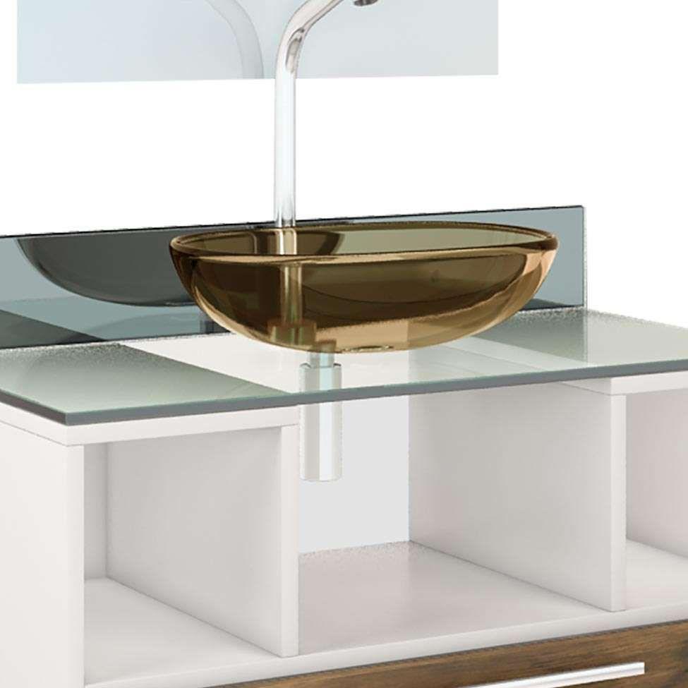 Gabinete Para Banheiro Taiyo Branco Com Gaveta Nogal Com Espelho E Cuba Premium Gabinetes