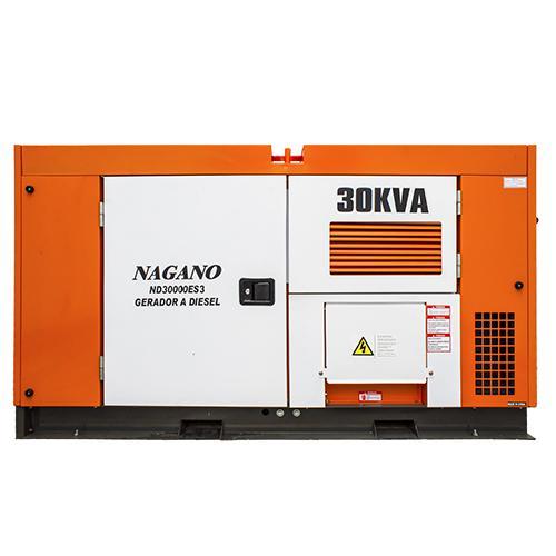 9336eab6161 Gerador de Energia a Diesel Trifásico 30 kVA partida elétrica Silenciado  cabinado c  QTA nacional - ND30000ES3QTA - Nagano Produto não disponível