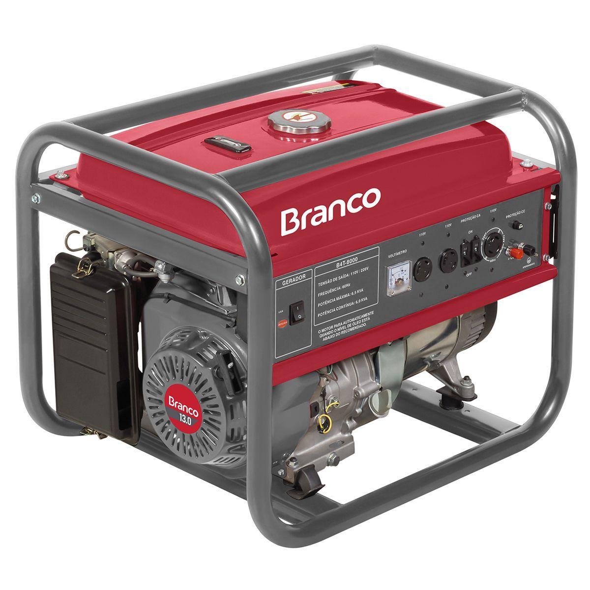aa8f5c0501d Gerador De Energia Branco B4T-8000 A Gasolina Partida Manual Bivolt R   3.690
