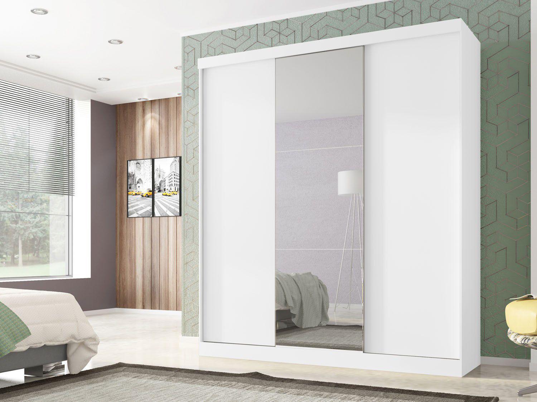 Guarda roupa casal 3 portas de correr poliman m veis for Medidas closets modernos