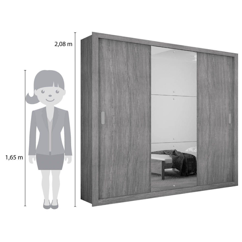 23a121132 Guarda Roupa Casal com Espelho 3 Portas de Correr Luna Rufato Branco R   699