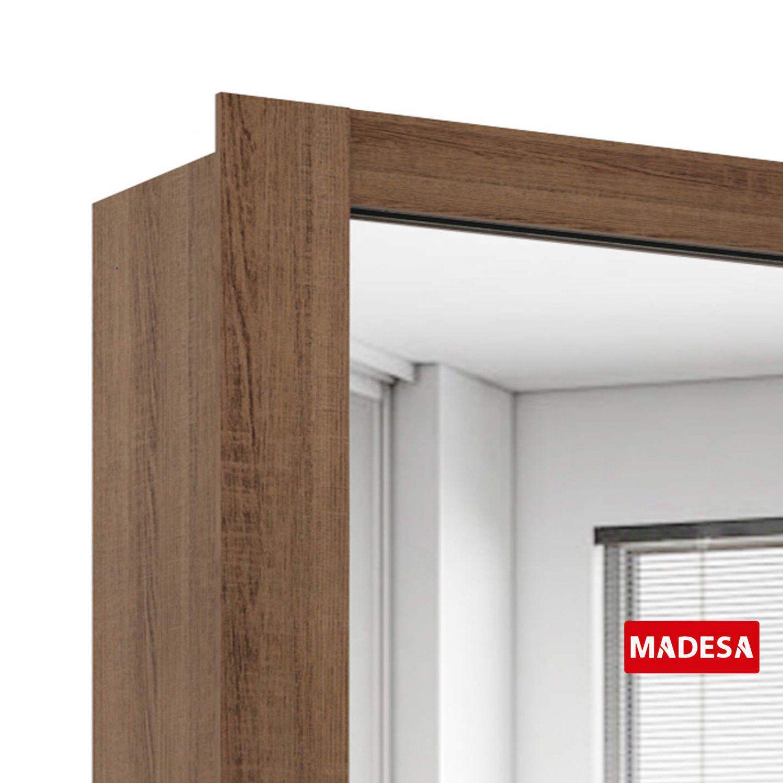 e405df67abc946 Guarda Roupa Casal com Espelho 3 Portas de Correr Master Madesa Rustic