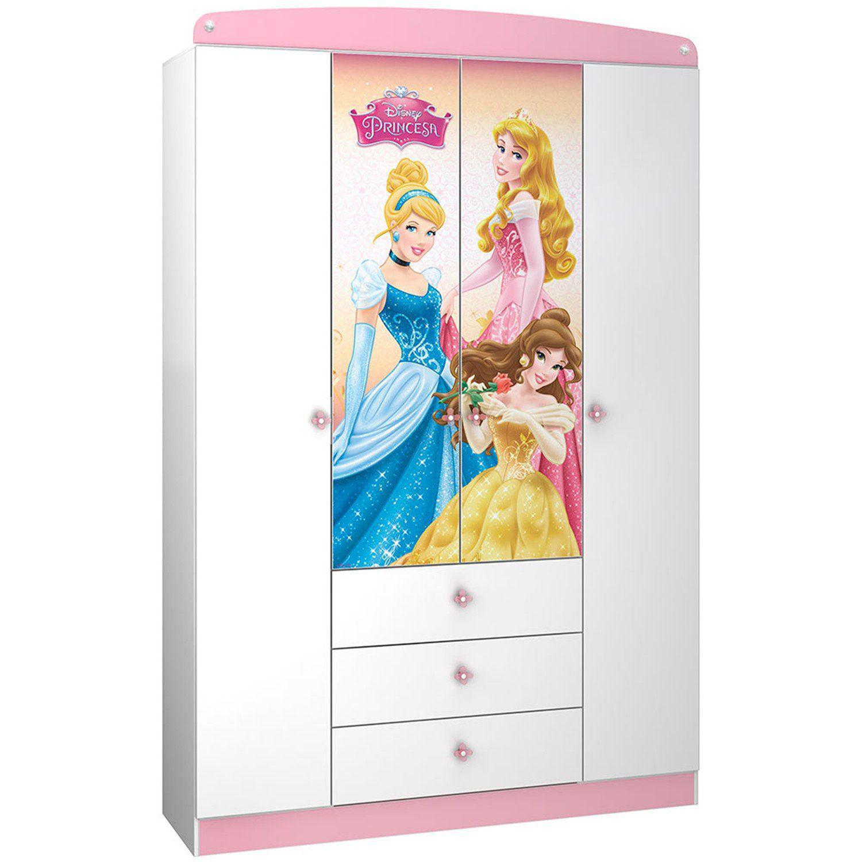 f863e7855f87 Guarda Roupa Infantil 4 Portas 3 Gavetas Princesas Disney Star Pura Magia  Branco/Rosa Produto não disponível