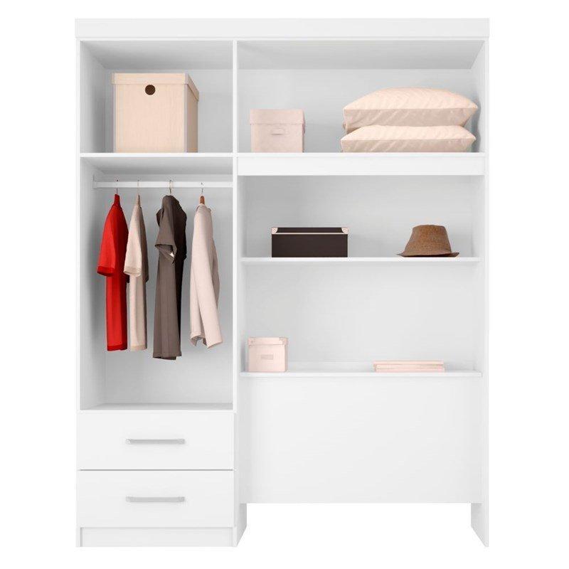 fc8d044de6 Guarda Roupa para Cama Box Solteiro 4 Portas Dueto - Branco Branco - Branco  Rosa - Demóbile R  498