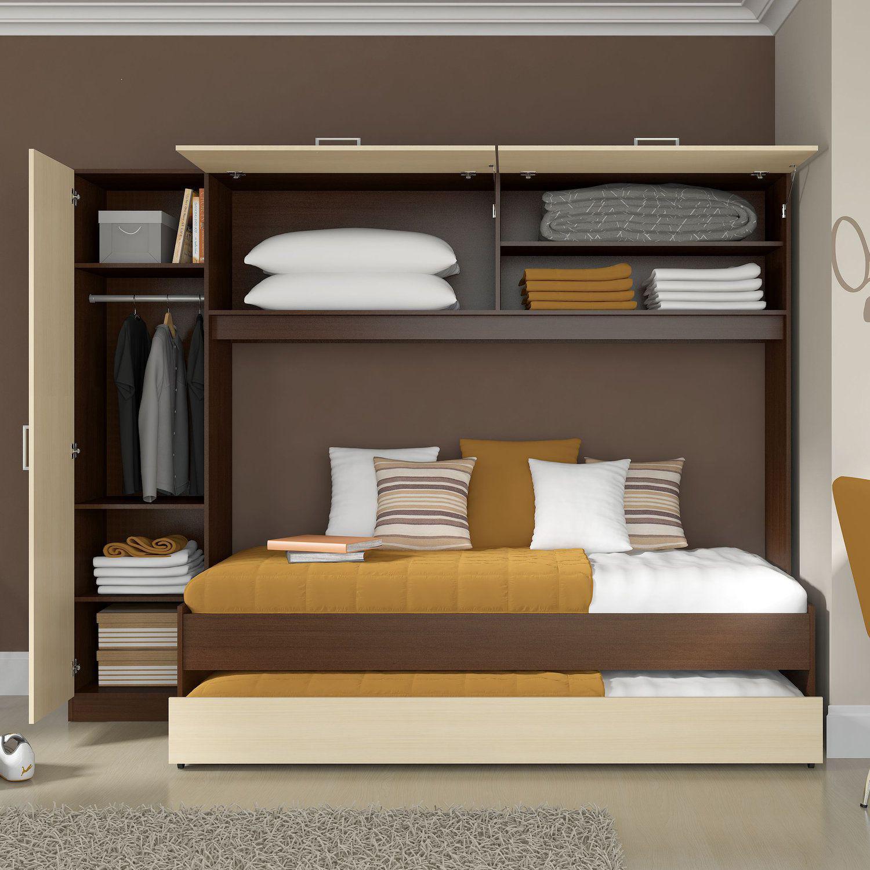 Guarda roupa solteiro com cama e auxiliar embutida - Mesa auxiliar de cama ...