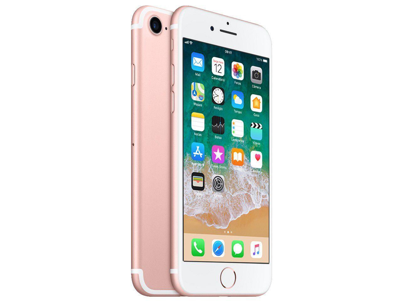 "ac23b0e15 iPhone 7 Apple 32GB Ouro Rosa 4G Tela 4.7"" Retina - Câm. 12MP + Selfie 7MP  iOS 11 Proc. Chip A10 - iPhone - Magazine Luiza"