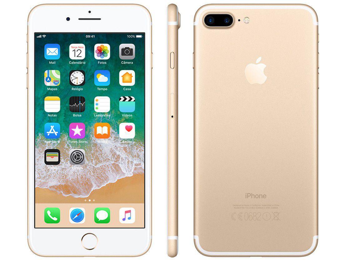 """b7106bd88 iPhone 7 Plus Apple 32GB Dourado 4G Tela 5.5"""" - Câm. 12MP + Selfie 7MP iOS  11 Proc. Chip A10 Produto não disponível"""